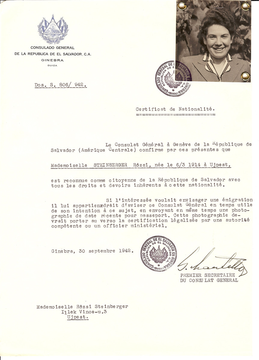 Unauthorized Salvadoran citizenship certificate issued to Rozsi Steinberger (b. March 6, 1914 in Ujpest) by George Mandel-Mantello, First Secretary of the Salvadoran Consulate in Geneva, and sent to her in Ujpest.