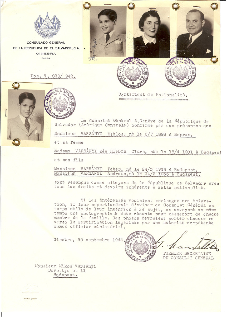 Unauthorized Salvadoran citizenship certificate issued to Miklos Varsanyi (b. July 6, 1898 in Sopron), his wife Clara (nee Hirsch) Varsanyi (b. April 18, 1901 in Budapest) and twin sons Peter and Andress (b. March 24, 1935) by George Mandel-Mantello, First Secretary of the Salvadoran Consulate in Geneva and sent to them in Budapest.