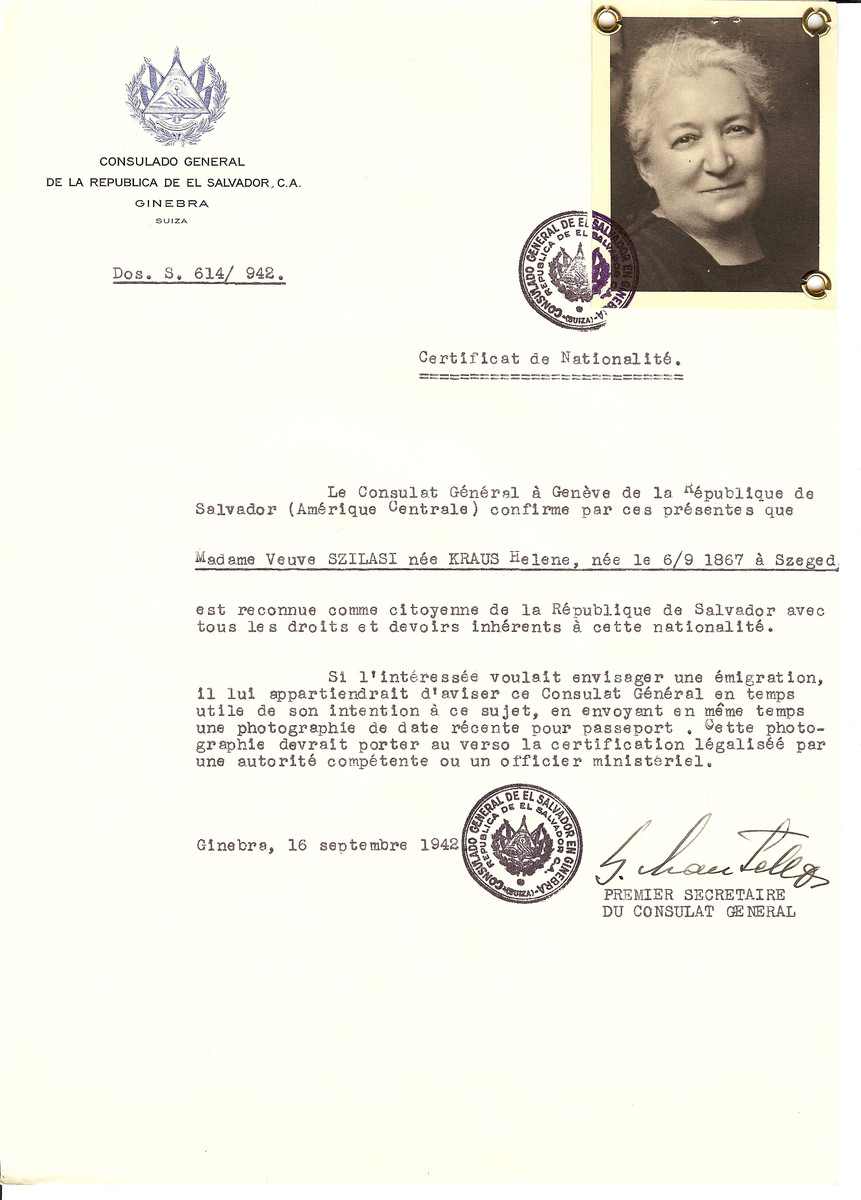 Unauthorized Salvadoran citizenship certificate issued to Helene (nee Kraus) Szilasi (b. September 6, 1867 in Szeged) by George Mandel-Mantello, First Secretary of the Salvadoran Consulate in Geneva.