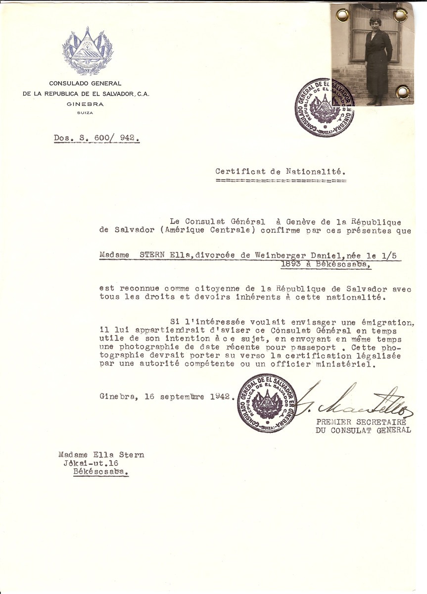 Unauthorized Salvadoran citizenship certificate issued to Ella Stern (formerly Weinberger) (b. May 1, 1893 in Bekescsaba) by George Mandel-Mantello, First Secretary of the Salvadoran Consulate in Geneva, and sent to her in Bekescsaba.
