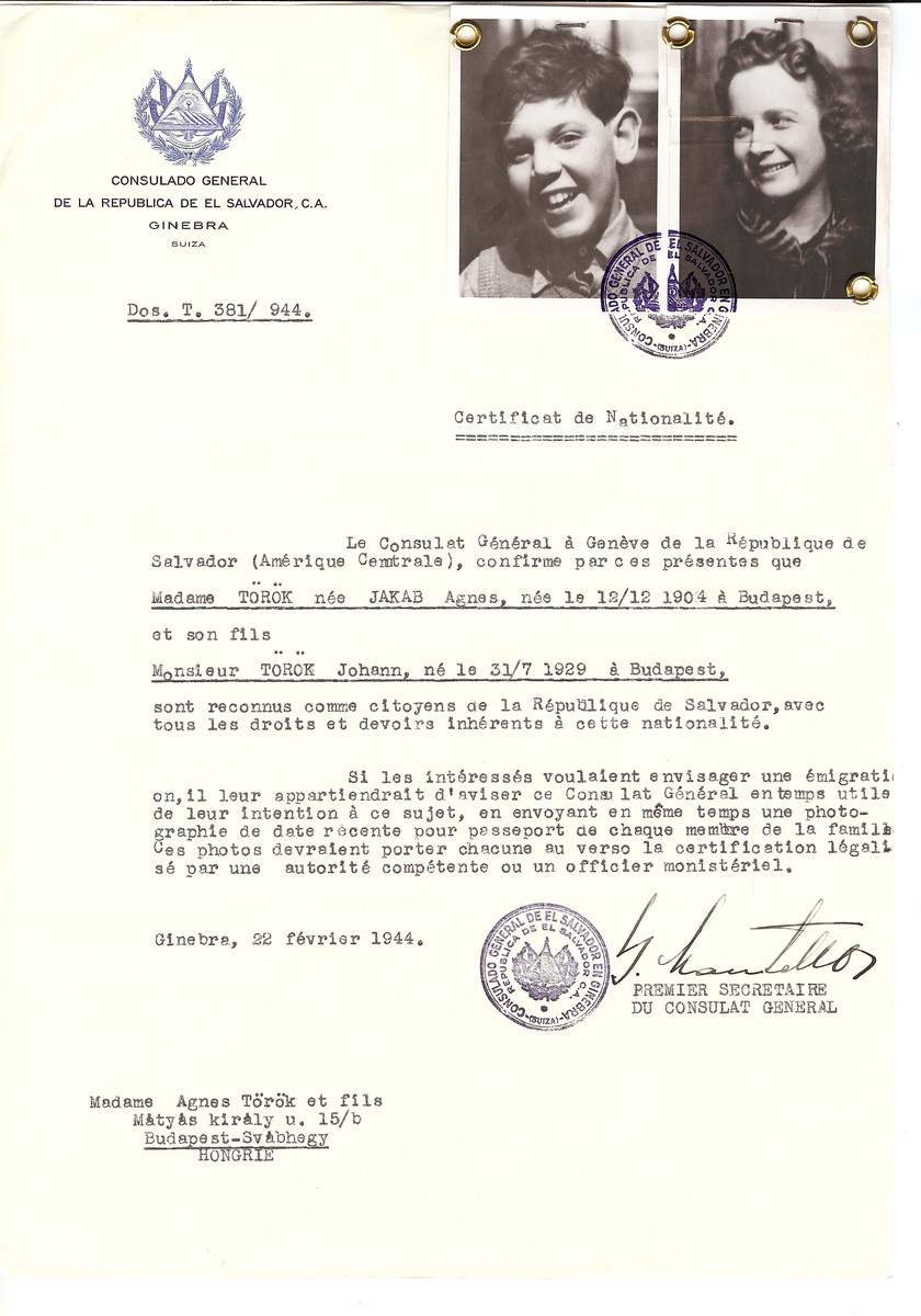 Unauthorized Salvadoran citizenship certificate issued to Agnes (nee Jakab) Torok (b. December 12, 1904 in Budapest) and her son Johann (b. July 31, 1929) by George Mandel-Mantello, First Secretary of the Salvadoran Consulate in Geneva, and sent to them in Budapest.