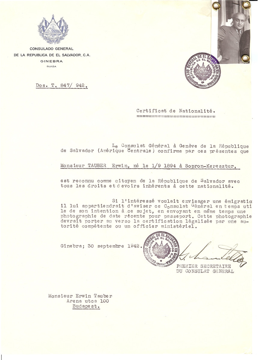 Unauthorized Salvadoran citizenship certificate issued to Erwin Tauber (b. September 1, 1894 in Sopron) by George Mandel-Mantello, First Secretary of the Salvadoran Consulate in Geneva, and sent to him in Budapest.