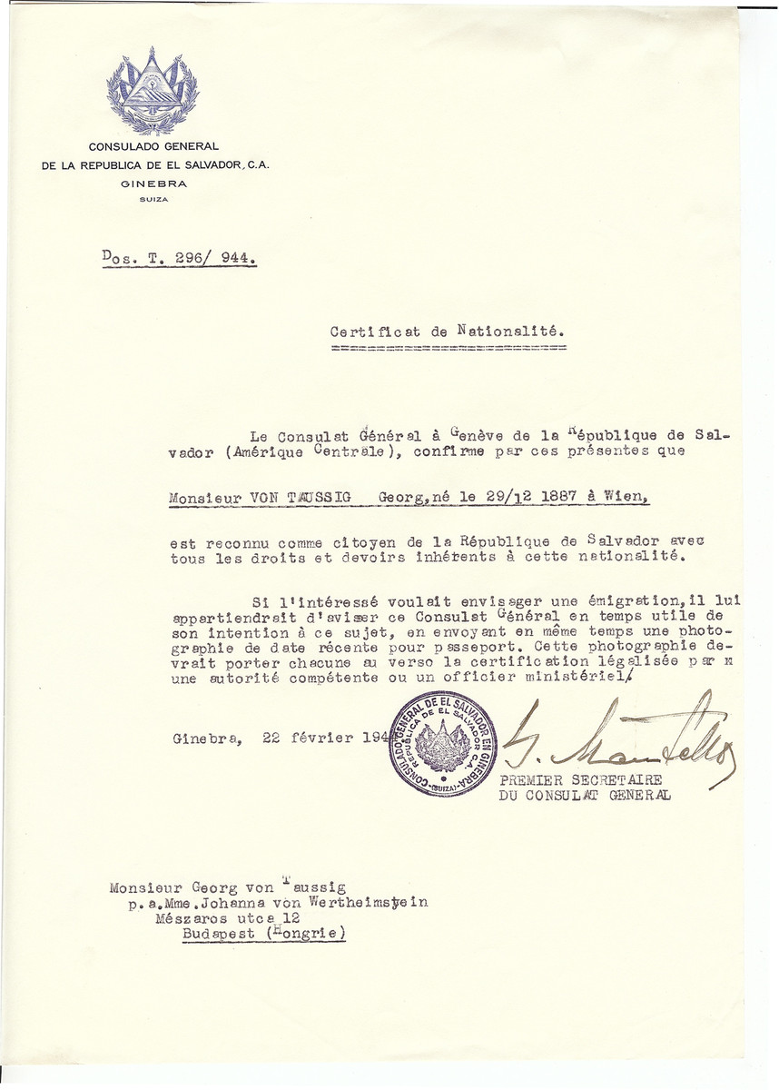 Unauthorized Salvadoran citizenship certificate issued to Georg von Taussig (b. December 29, 1887 in Vienna) by George Mandel-Mantello, First Secretary of the Salvadoran Consulate in Geneva and sent to him in Budapest,