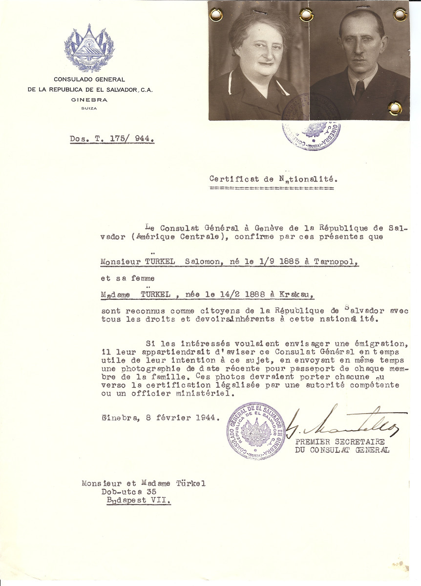 Unauthorized Salvadoran citizenship certificate issued to Salomon Turkel (b. September 1, 1885 in Tarnopol) and his wife (b. February 14, 1888 in Krakow) by George Mandel-Mantello, First Secretary of the Salvadoran Consulate in Geneva, and sent to them in Budapest.
