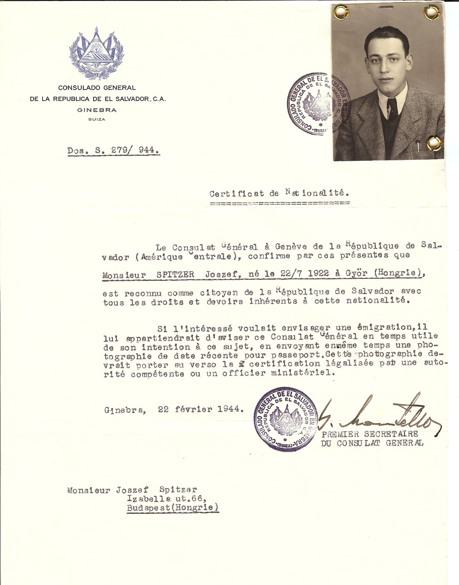 Unauthorized Salvadoran citizenship certificate issued to Joszef Spitzer (b. July 22, 1922 in Gyor) by George Mandel-Mantello, First Secretary of the Salvadoran Consulate in Geneva, and sent to him in Budapest.