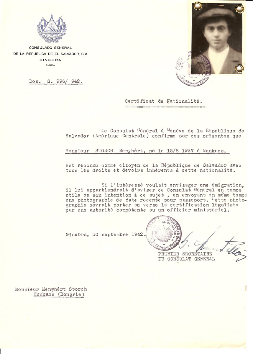 Unauthorized Salvadoran citizenship certificate issued to Manyhert Storch (b. August 15, 1927 in Munkacs) by George Mandel-Mantello, First Secretary of the Salvadoran Consulate in Geneva, and sent to him in Munkacs.