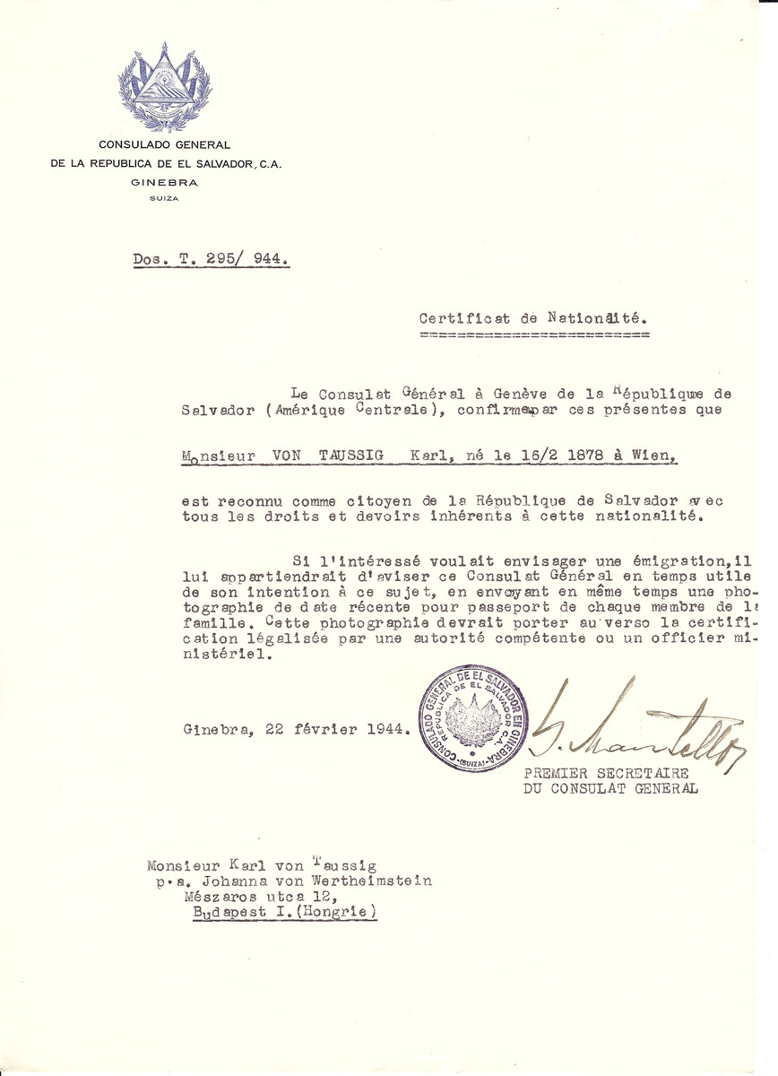 Unauthorized Salvadoran citizenship certificate issued to Karl von Taussig (b. February 16, 1878 in Vienna) by George Mandel-Mantello, First Secretary of the Salvadoran Consulate in Geneva, and sent to him in Budapest.