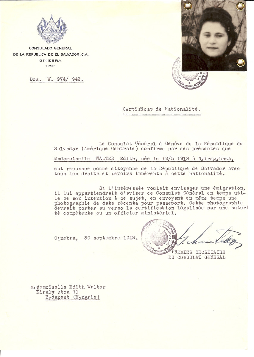 Unauthorized Salvadoran citizenship certificate issued to Edith Walter (b. May 19, 1918 in Nyiregyhaza) by George Mandel-Mantello, First Secretary of the Salvadoran Consulate in Geneva and sent to her in Budapest.
