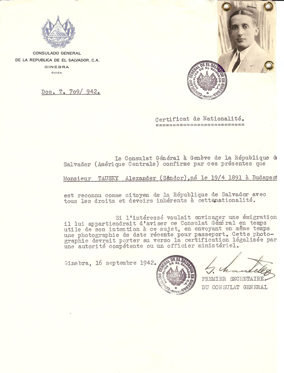 Unauthorized Salvadoran citizenship certificate issued to Alexander (Sandor) Tausky (b. April 19, 1891in Budapest) by George Mandel-Mantello, First Secretary of the Salvadoran Consulate in Geneva.