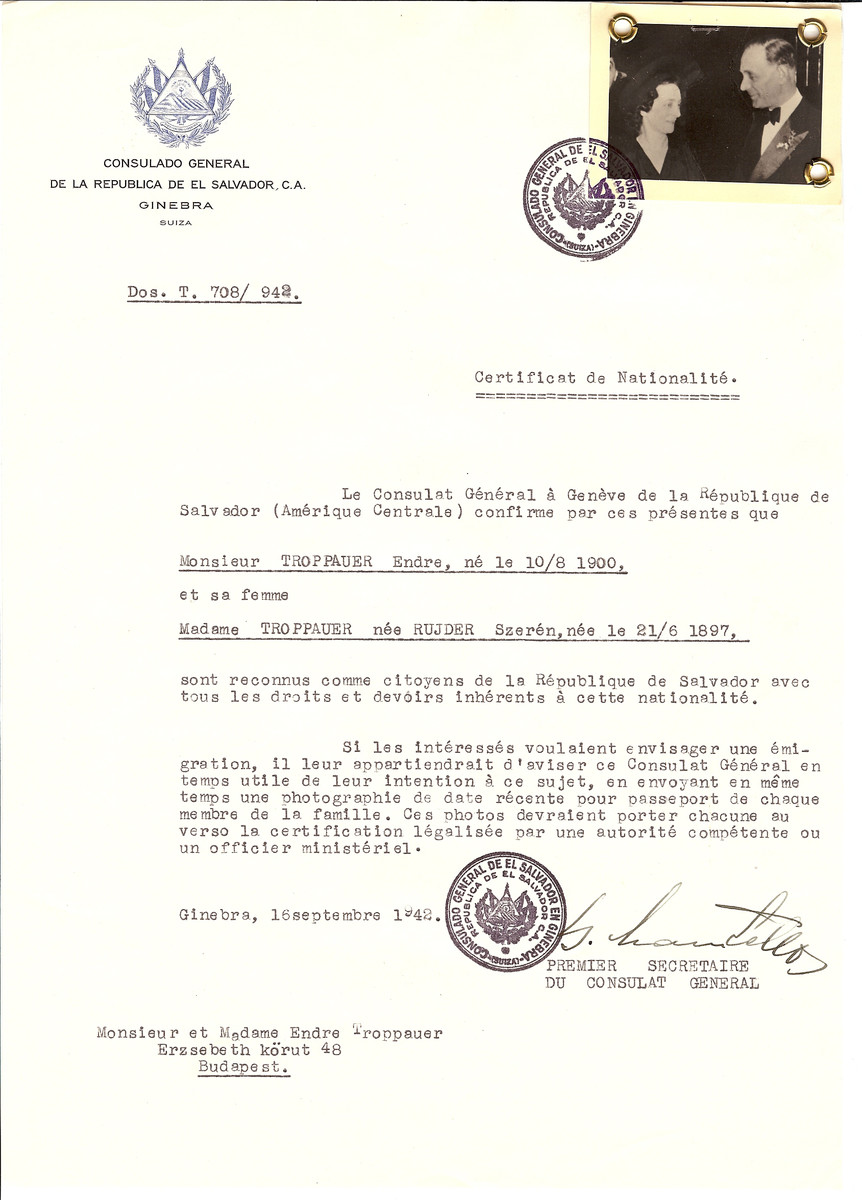 Unauthorized Salvadoran citizenship certificate issued to Endre Troppauer (b. August 10, 1900) and Szeren (nee Rujder) Troppauer (b. June 21, 1897) by George Mandel-Mantello, First Secretary of the Salvadoran Consulate in Geneva, and sent to them in Budapest.