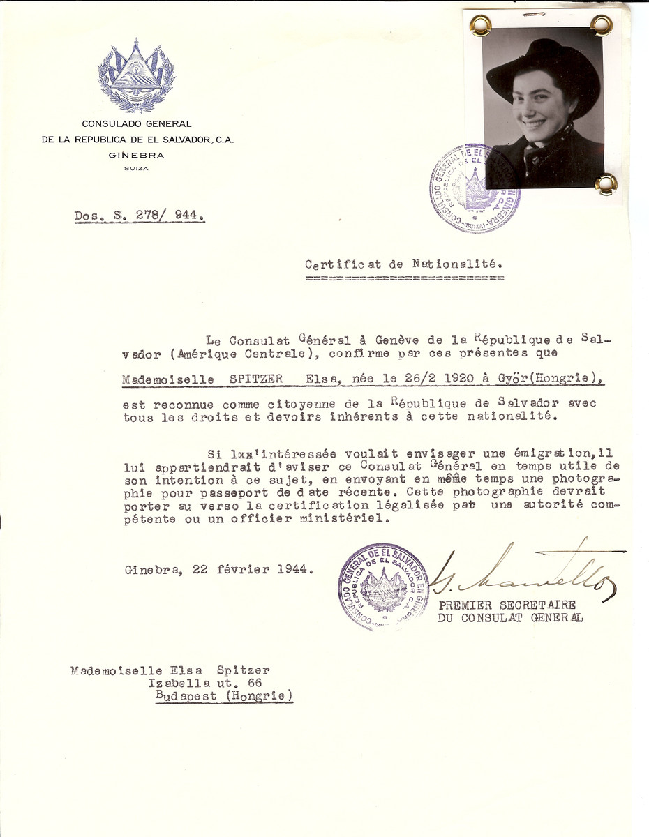 Unauthorized Salvadoran citizenship certificate issued to Elsa Spitzer (b. February 26, 1920 in Gyor) by George Mandel-Mantello, First Secretary of the Salvadoran Consulate in Geneva, and sent to her in Budapest.