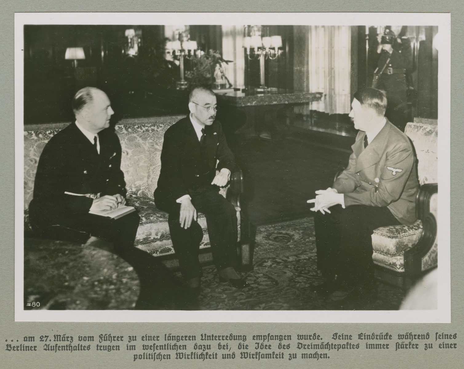 Adolf Hitler meets with the Foreign Minister of Japan Adolf Hitler (right), Yosuke Matsuoka (center) and interpreter Dr. Paul Otto Schmidt (left).    Original caption reads:... was received by the Führer on March 27, for a long discussion. His impressions during his stay in Berlin had a considerable impact on the idea to make the Tripartite Pact increasingly strong and effective as a political reality.   (A continuation of the caption accompanying the image on WS#75980)