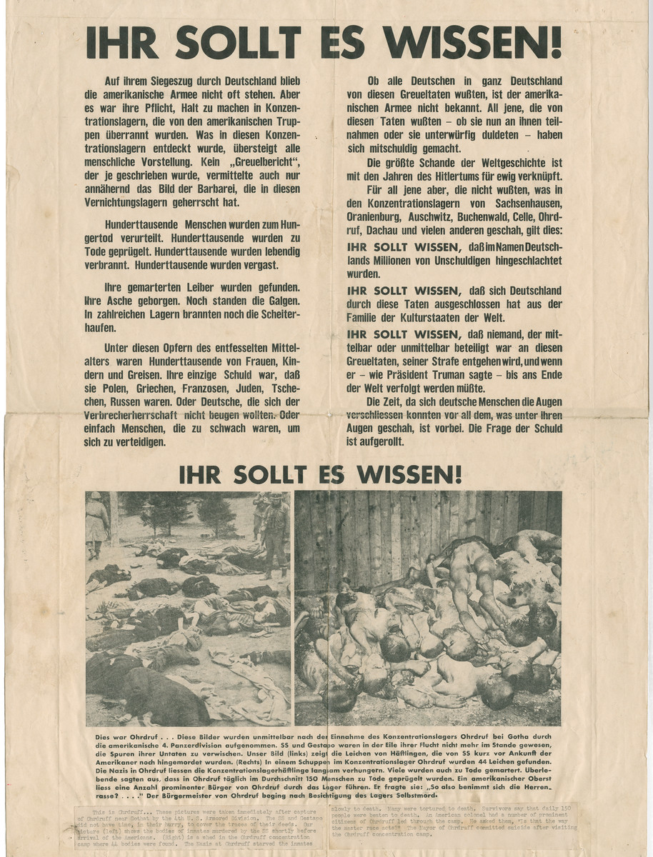 Poster entitled Ihr Sollt es Wissen! [You Should Know About It!] which describes atrocities committed in concentration camps.