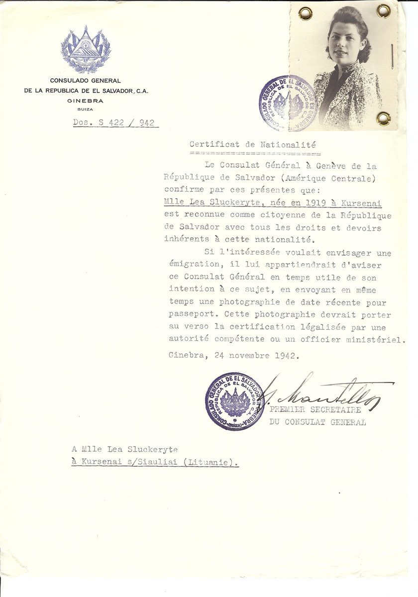 Unauthorized Salvadoran citizenship certificate made out to Lea Sluckeryte (nee 1919 in Kursenai) by George Mandel-Mantello, First Secretary of the Salvadoran Consulate in Geneva and sent to her in Kursenai.