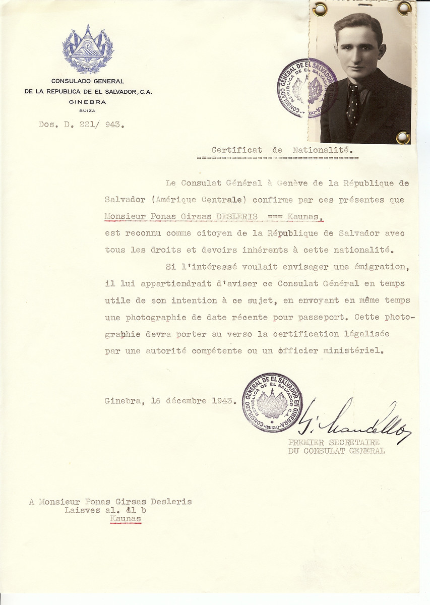 Unauthorized Salvadoran citizenship certificate issued to Ponas Girsas Desleris by George Mandel-Mantello, First Secretary of the Salvadoran Consulate in Switzerland and sent to him in Kaunas.