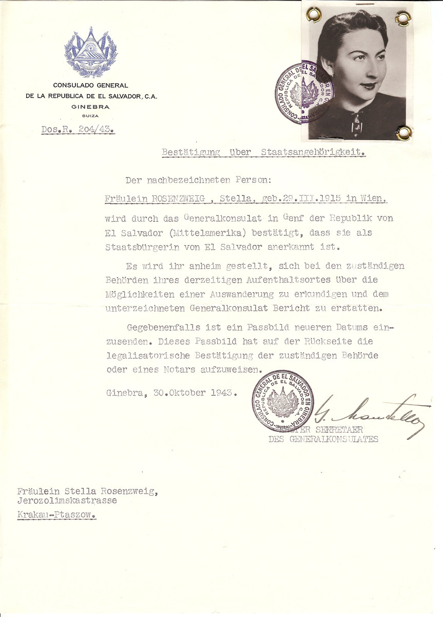 Unauthorized Salvadoran citizenship certificate issued to Stella Rosenzweig (b. March 29, 1915 in Vienna) by George Mandel-Mantello, First Secretary of the Salvadoran Consulate in Switzerland and sent to her in Krakow.