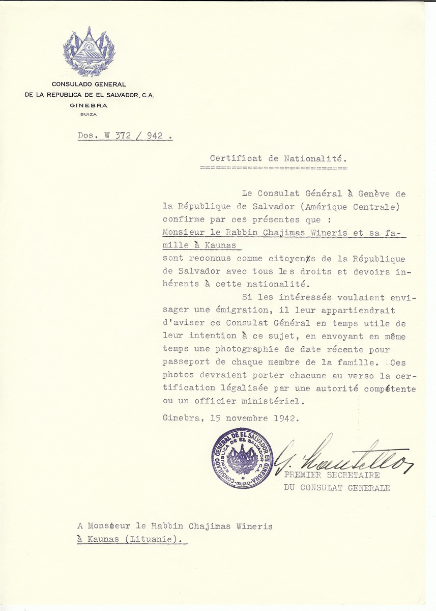 Unauthorized Salvadoran citizenship certificate made out to Rabbi Chajimas Wineris and his family by George Mandel-Mantello. First Secretary of the Salvadoran Consulate in Geneva and sent to them in Kaunas.
