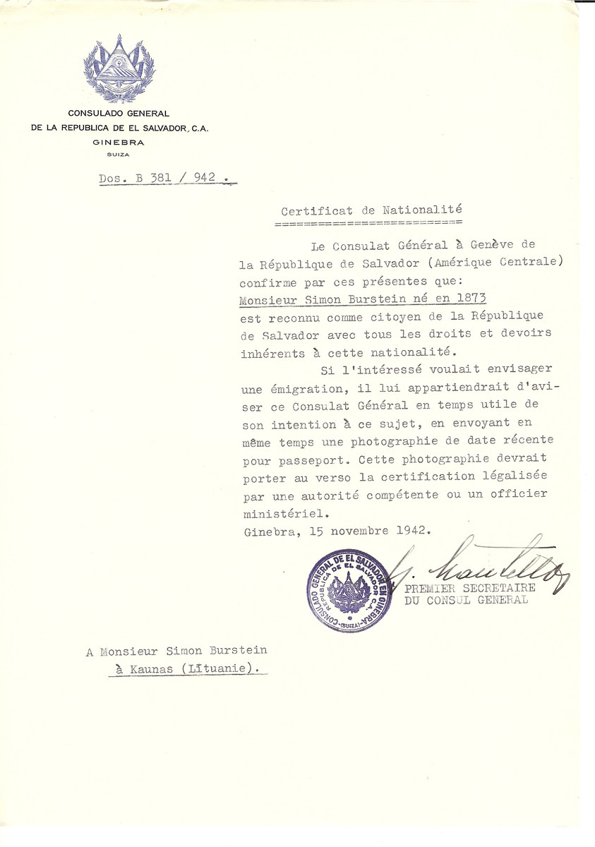 Unauthorized Salvadoran citizenship certificate issued to Simon Burstein (b. 1873) by George Mandel-Mantello, First Secretary of the Salvadoran Consulate in Switzerland and sent to him in Kaunas.