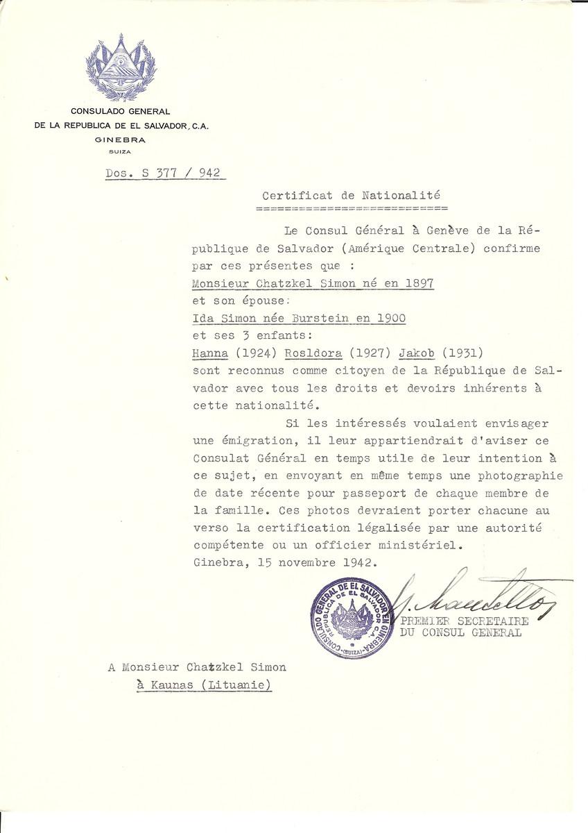 Unauthorized Salvadoran citizenship certificate issued to Chatzkel Simon (b, 1897), his wife Ida (nee Burstein) Simon (b. 1900) and three children Hanna (b. 1924), Rosldora (b. 1927) and Jakob (b. 1931) by George Mandel-Mantello, First Secretary of the Salvadoran Consulate in Switzerland and sent to them in Kaunas.
