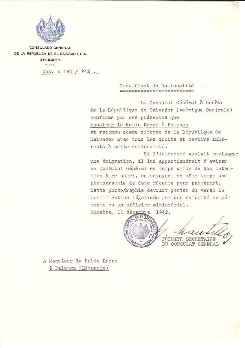 Unauthorized Salvadoran citizenship certificate issued to Rabbi Kacas by George Mandel-Mantello, First Secretary of the Salvadoran Consulate in Switzerland and sent to him in Palanga.