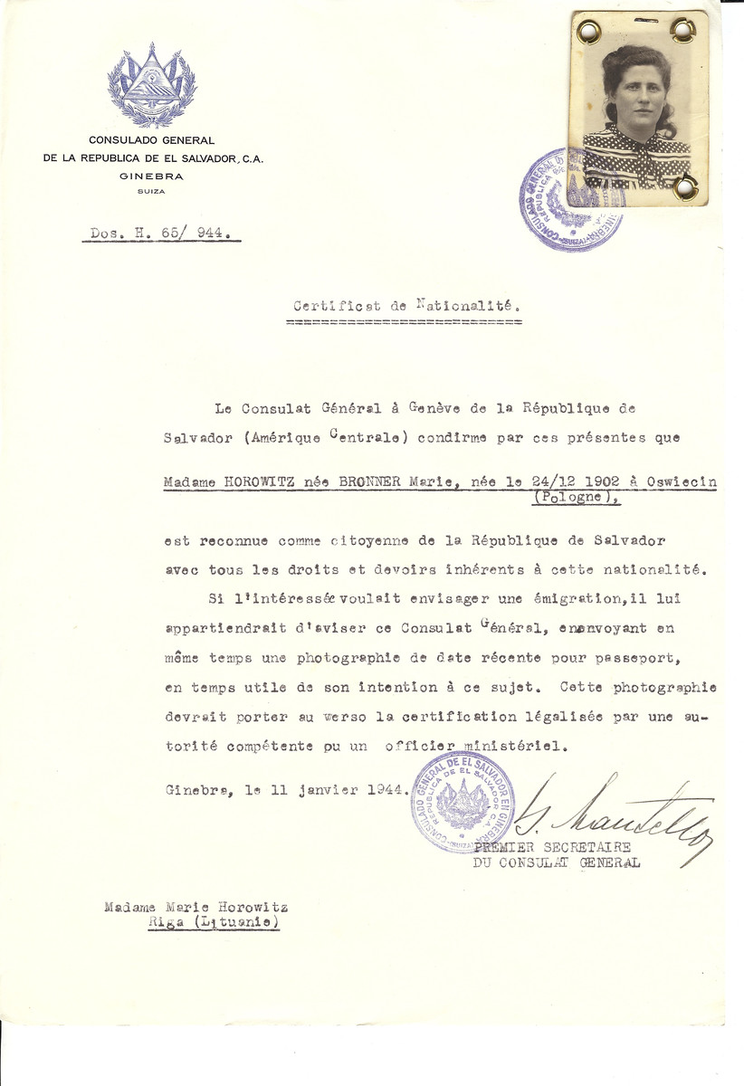 Unauthorized Salvadoran citizenship certificate made out to Marie (nee Bronner) Horowitz (b. December 24, 1902 in Oswiecim by George Mandel-Mantello, First Secretary of the Salvadoran Consulate in Geneva and sent to her in Riga.