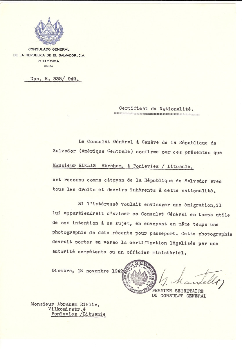 Unauthorized Salvadoran citizenship certificate issued to Abraham Riklis of Panevezys by George Mandel-Mantello, First Secretary of the Salvadoran Consulate in Switzerland.