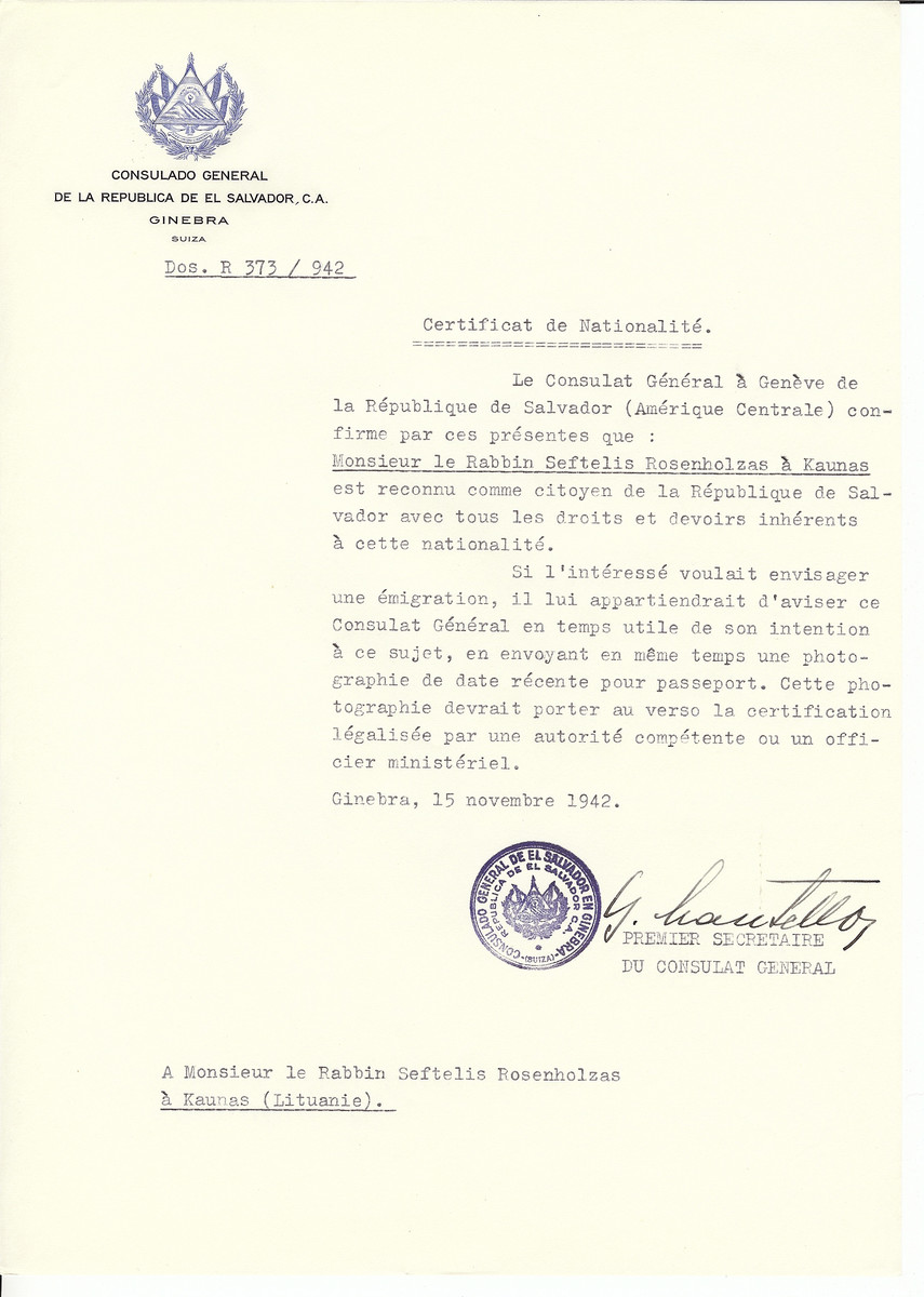 Unauthorized Salvadoran citizenship certificate made out to Rabbi Seftelis Rosenholzas by George Mandel-Mantello. First Secretary of the Salvadoran Consulate in Geneva and sent to them in Ukmerge.