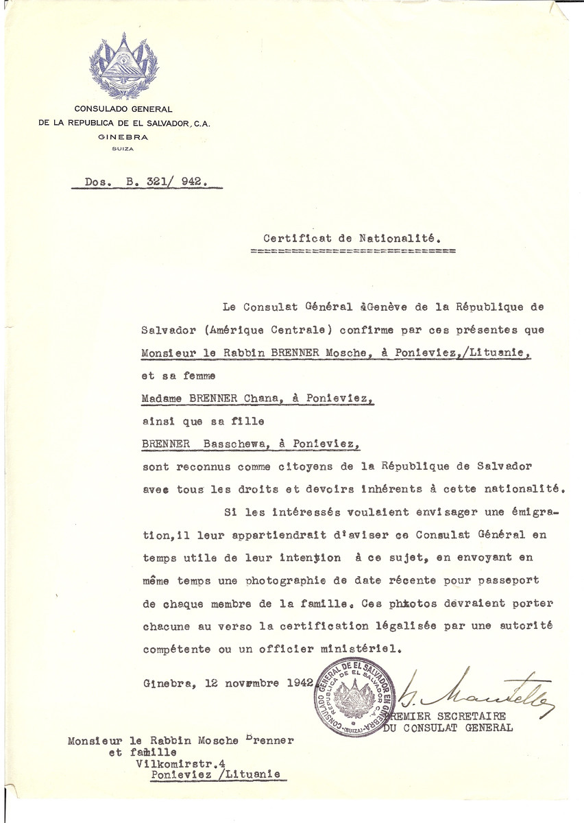 Unauthorized Salvadoran citizenship certificate issued to Rabbi Mosche Brenner, his wife Chana Brenner and daughter Basschewa from Panevezys by George Mandel-Mantello, First Secretary of the Salvadoran Consulate in Switzerland.