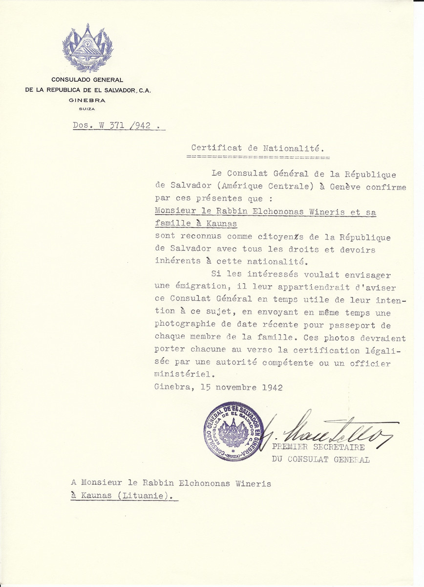 Unauthorized Salvadoran citizenship certificate made out to Rabbi Elchononas Wineris and his family by George Mandel-Mantello. First Secretary of the Salvadoran Consulate in Geneva and sent to them in Kaunas.