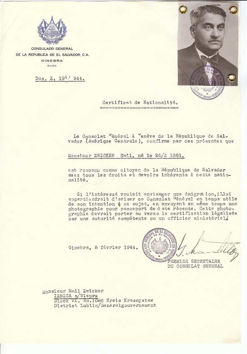 Unauthorized Salvadoran citizenship certificate issued to Emil Zwicker (b. March 26, 1881) by George Mandel-Mantello, First Secretary of the Salvadoran Consulate in Switzerland and sent to him in Izbica.