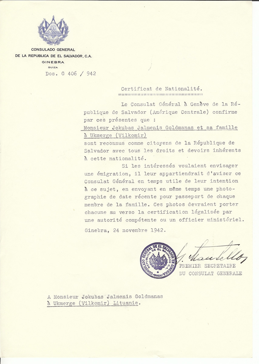 Unauthorized Salvadoran citizenship certificate issued to Jokubas Jalmenis Goldmanas and his family from Ukmerge by George Mandel-Mantello, First Secretary of the Salvadoran Consulate in Switzerland.