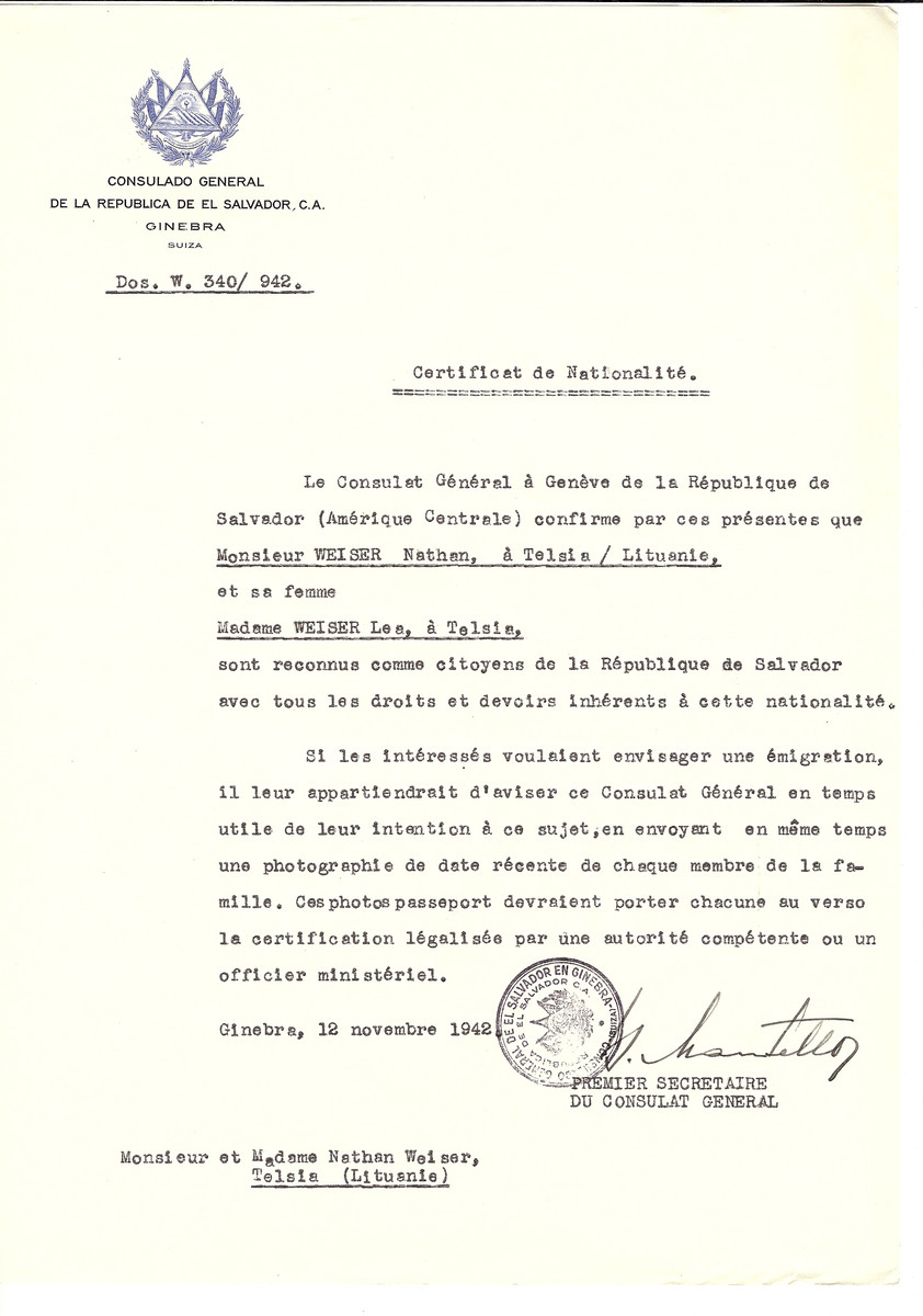 Unauthorized Salvadoran citizenship certificate issued to Nathan Weiser and his wife Lea Weiser of Telsiai by George Mandel-Mantello, First Secretary of the Salvadoran Consulate in Switzerland.