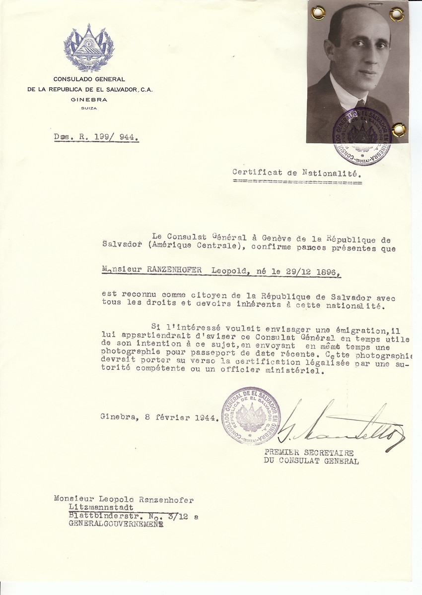 Unauthorized Salvadoran citizenship certificate issued to Leopold Ranzenhofer (b. December 29, 1896) by George Mandel-Mantello, First Secretary of the Salvadoran Consulate in Switzerland and sent to him in Lodz.