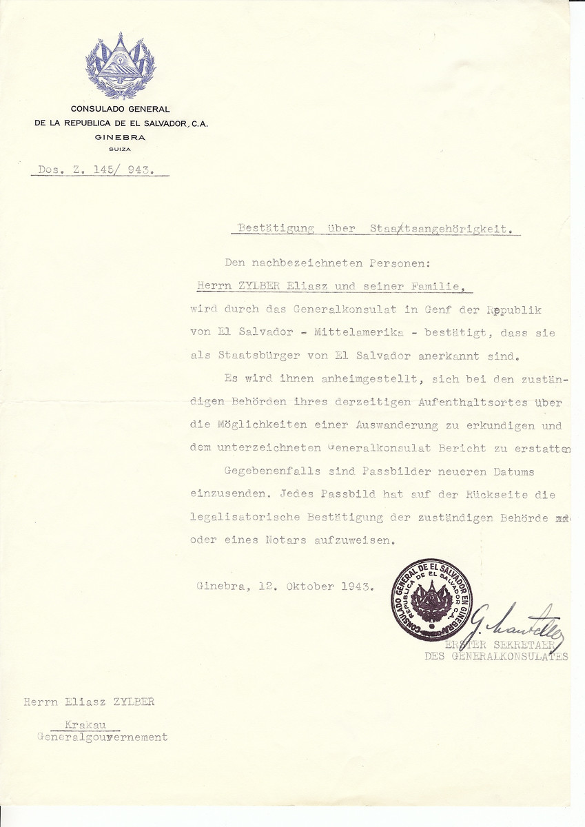 Unauthorized Salvadoran citizenship certificate issued to Eliasz Zylber and family by George Mandel-Mantello, First Secretary of the Salvadoran Consulate in Switzerland and sent to them in Krakow.