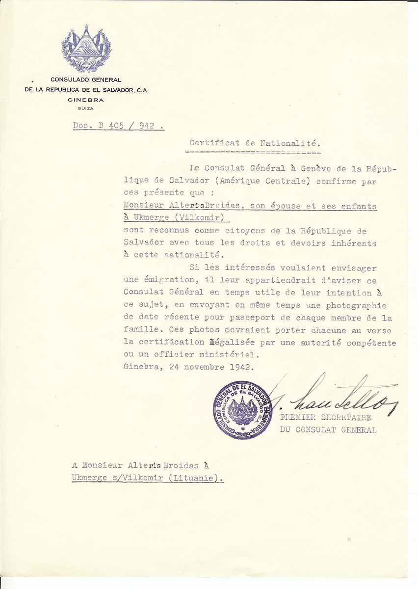 Unauthorized Salvadoran citizenship certificate issued to Alteris Broidas. his wife and children from Ukmerge by George Mandel-Mantello, First Secretary of the Salvadoran Consulate in Switzerland.