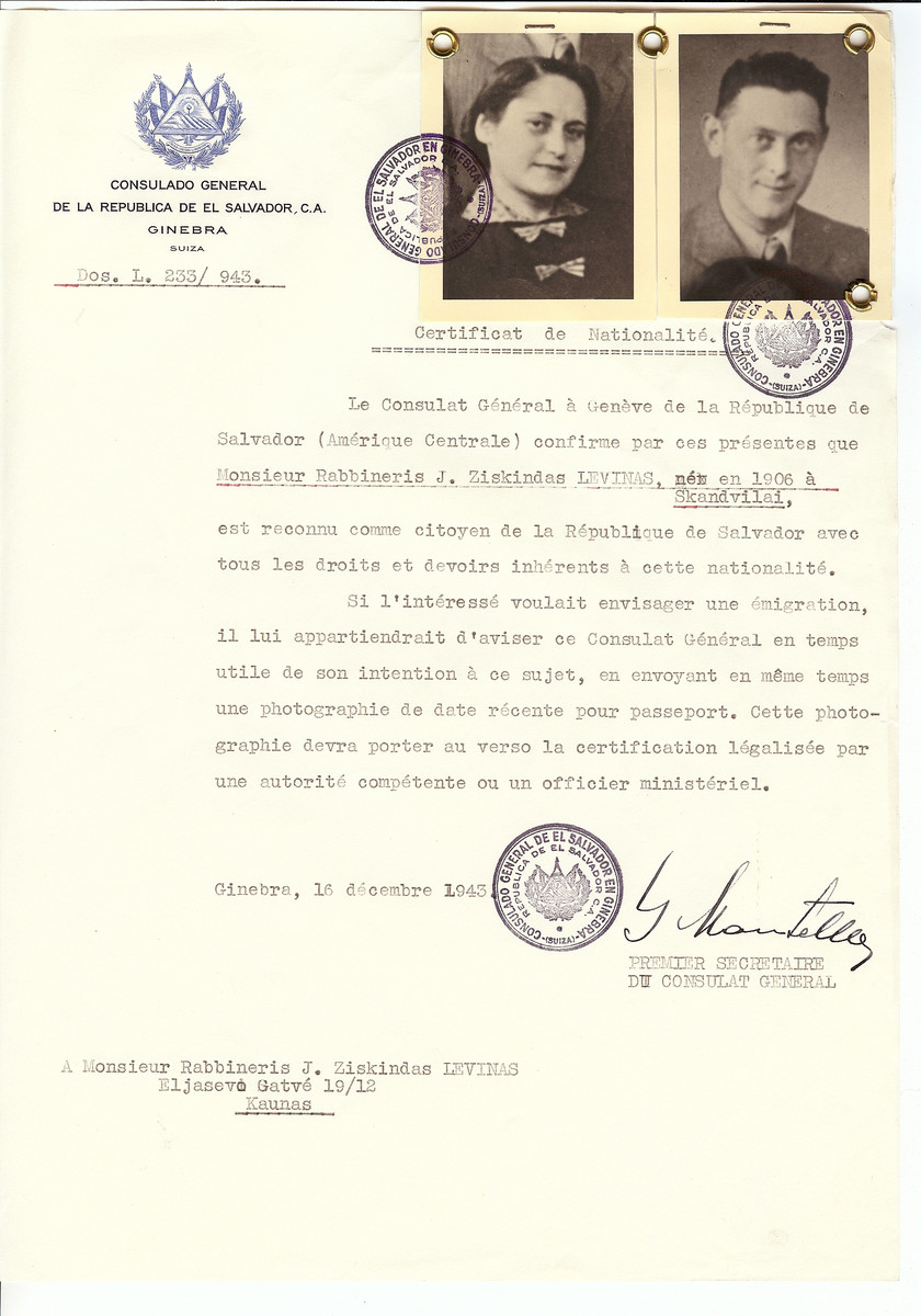 Unauthorized Salvadoran citizenship certificate issued to Rabbi J. Ziskindas Levinas (b. 1906 in Skandvilai) and his wife by George Mandel-Mantello, First Secretary of the Salvadoran Consulate in Switzerland and sent to them in Kaunas.