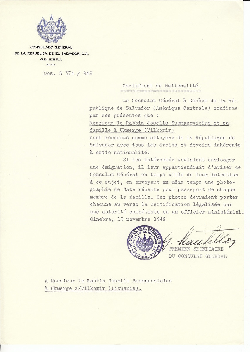 Unauthorized Salvadoran citizenship certificate made out to Rabbi Joselis Susmanovicius and his family by George Mandel-Mantello. First Secretary of the Salvadoran Consulate in Geneva and sent to them in Ukmerge.