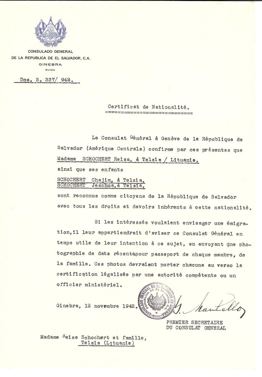 Unauthorized Salvadoran citizenship certificate issued to Reisa Schochert of Telsiai and her sons Chajim and Jeschua by George Mandel-Mantello, First Secretary of the Salvadoran Consulate in Switzerland.