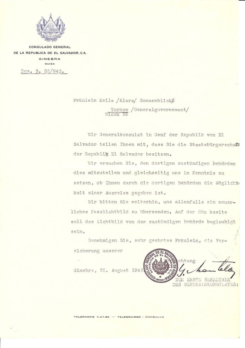 Unauthorized Salvadoran citizenship certificate issued to Klara Keila Sonnenblick by George Mandel-Mantello, First Secretary of the Salvadoran Consulate in Switzerland and sent to her in Tarnow.