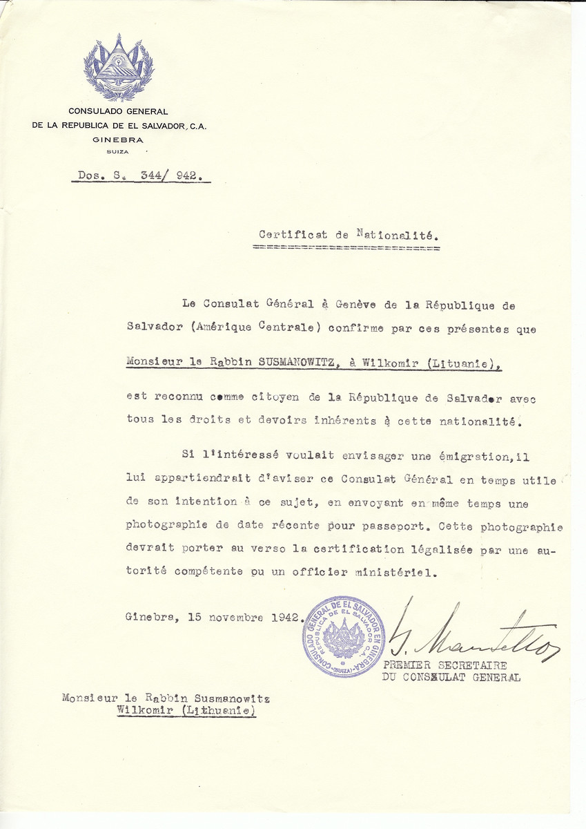 Unauthorized Salvadoran citizenship certificate issued to Rabbi Susmanowitz by George Mandel-Mantello, First Secretary of the Salvadoran Consulate in Switzerland and sent to him in Ukmerge.