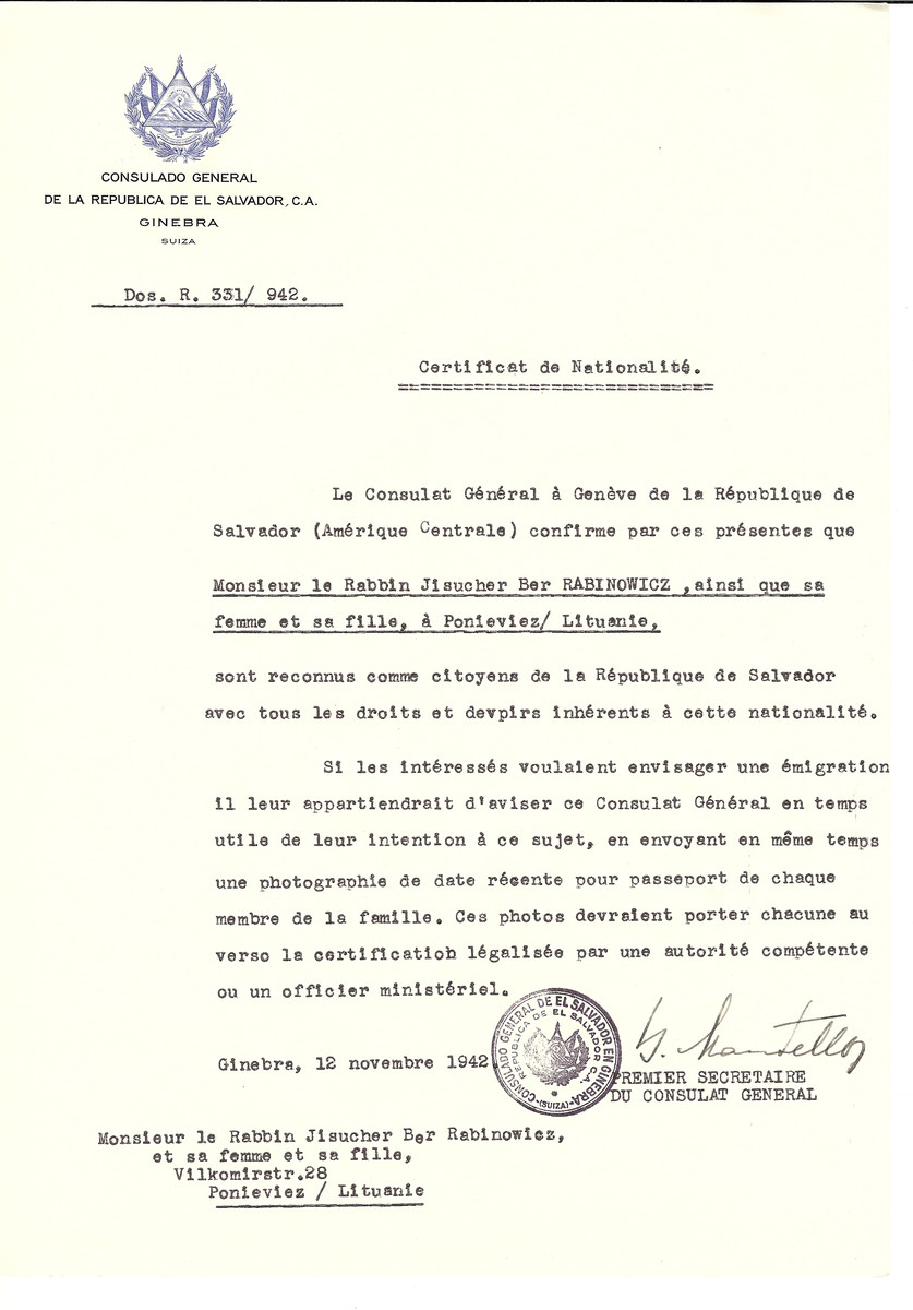 Unauthorized Salvadoran citizenship certificate issued to Rabbi Jisucher ber Rabinowicz and his daughter of Panevezys by George Mandel-Mantello, First Secretary of the Salvadoran Consulate in Switzerland.