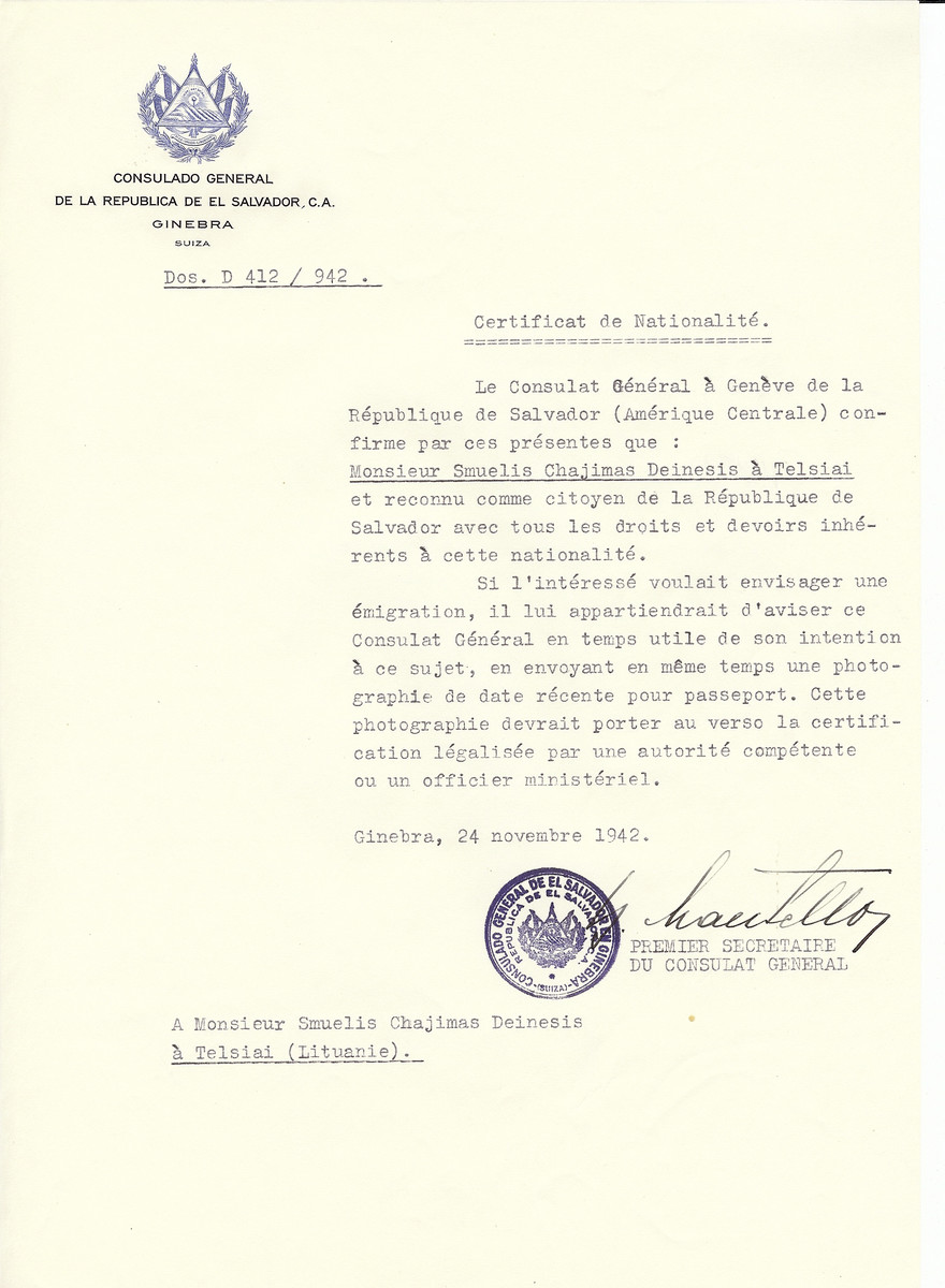 Unauthorized Salvadoran citizenship certificate made out to Samuelis Chajimas Deinesis by George Mandel-Mantello, First Secretary of the Salvadoran Consulate in Geneva and sent to him in Telsiai.