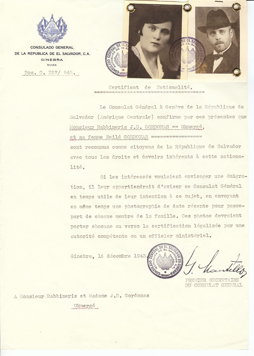 Unauthorized Salvadoran citizenship certificate issued to Rabbi J.D. Gordonas and his wife Beila Gordonas by George Mandel-Mantello, First Secretary of the Salvadoran Consulate in Switzerland and sent to them in Ukmerge.