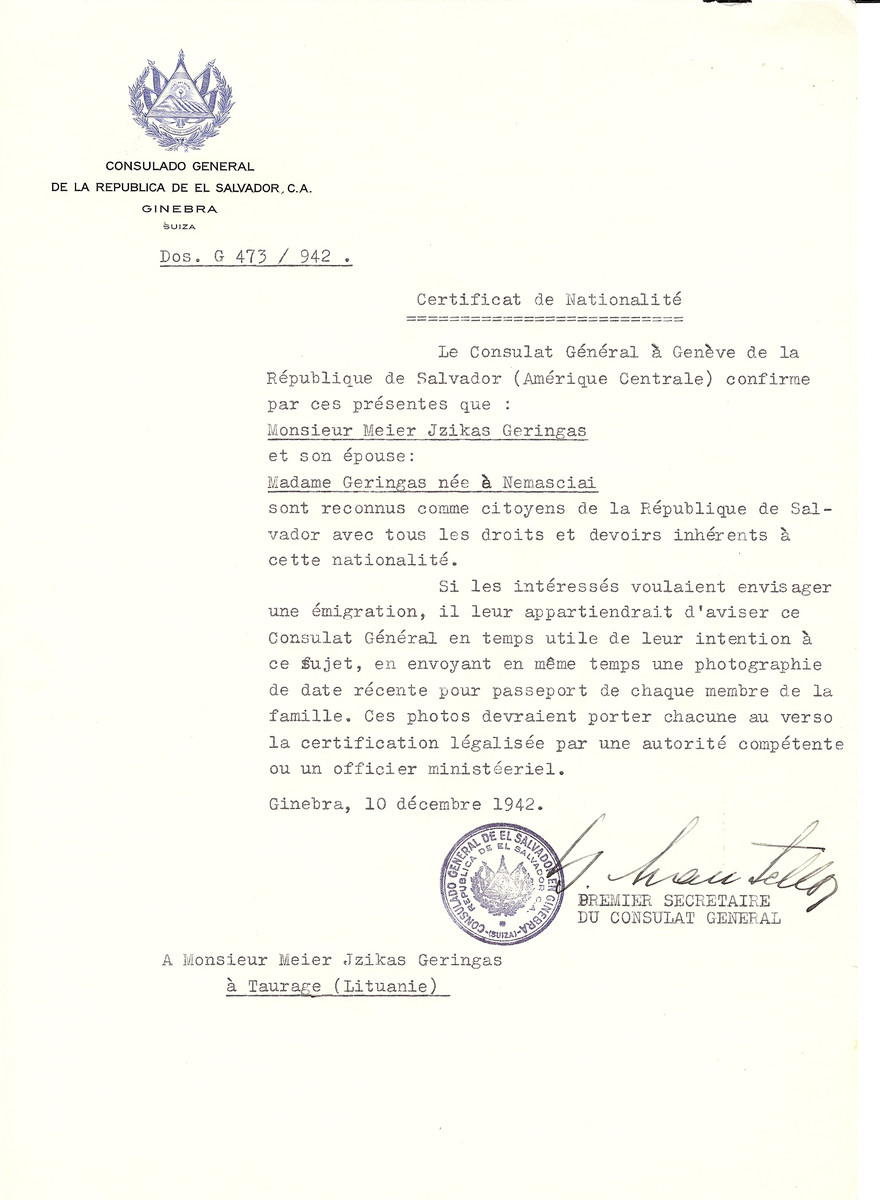 Unauthorized Salvadoran citizenship certificate made out to Meier Jzikas Geringas and his wife (nee Nemasciai) by George Mandel-Mantello, First Secretary of the Salvadoran Consulate in Geneva and sent to them in Taurage.