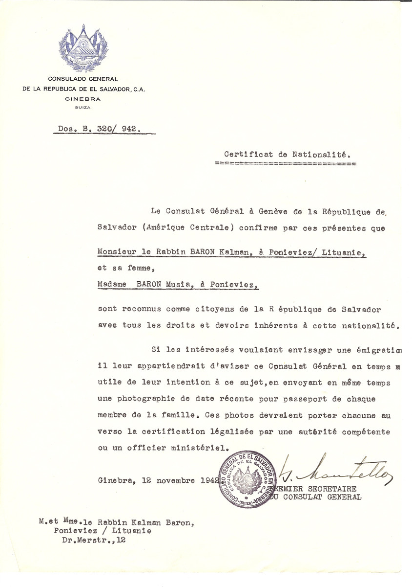 Unauthorized Salvadoran citizenship certificate issued to Rabbi Kalman Baron and his wife Musia Baron of Panevezys by George Mandel-Mantello, First Secretary of the Salvadoran Consulate in Switzerland.
