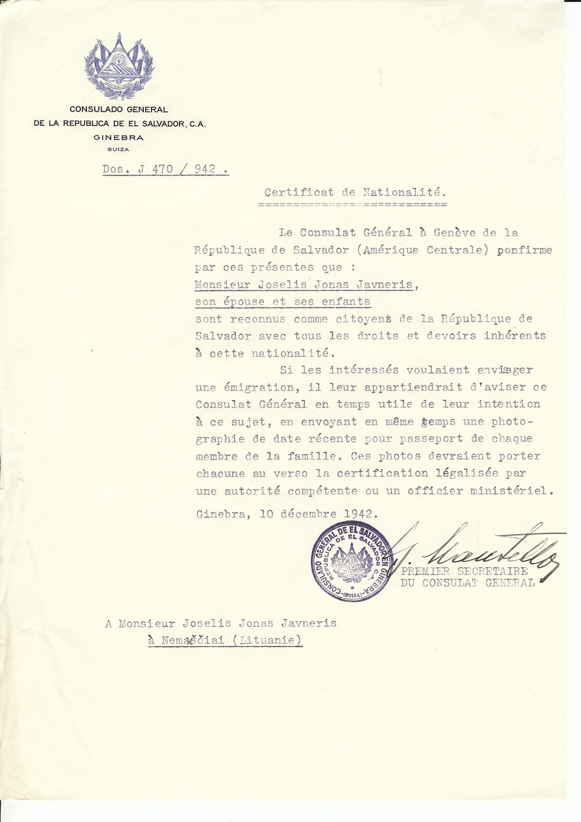 Unauthorized Salvadoran citizenship certificate made out to Joselis Jonas Javneris, his wife and children and his family by George Mandel-Mantello, First Secretary of the Salvadoran Consulate in Geneva and sent to them in Nemasciai.