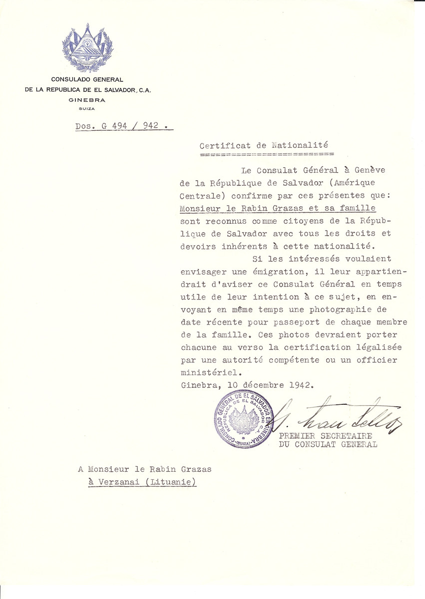 Unauthorized Salvadoran citizenship certificate issued to Rabbi Graza and his family by George Mandel-Mantello, First Secretary of the Salvadoran Consulate in Switzerland and sent to him in Verzanai.