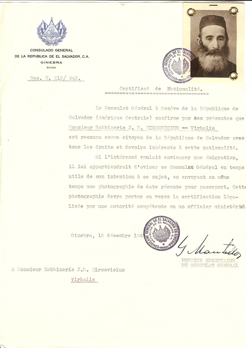 Unauthorized Salvadoran citizenship certificate issued to Rabbi J.E. Hirsovicius of Virbalis by George Mandel-Mantello, First Secretary of the Salvadoran Consulate in Switzerland.