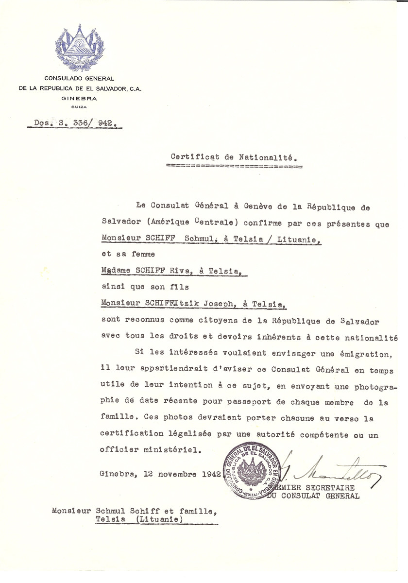 Unauthorized Salvadoran citizenship certificate issued to Schmul Schiff of Telsiai, his wife Riva Schiff and son Joseph by George Mandel-Mantello, First Secretary of the Salvadoran Consulate in Switzerland and sent to them in Telsiai.