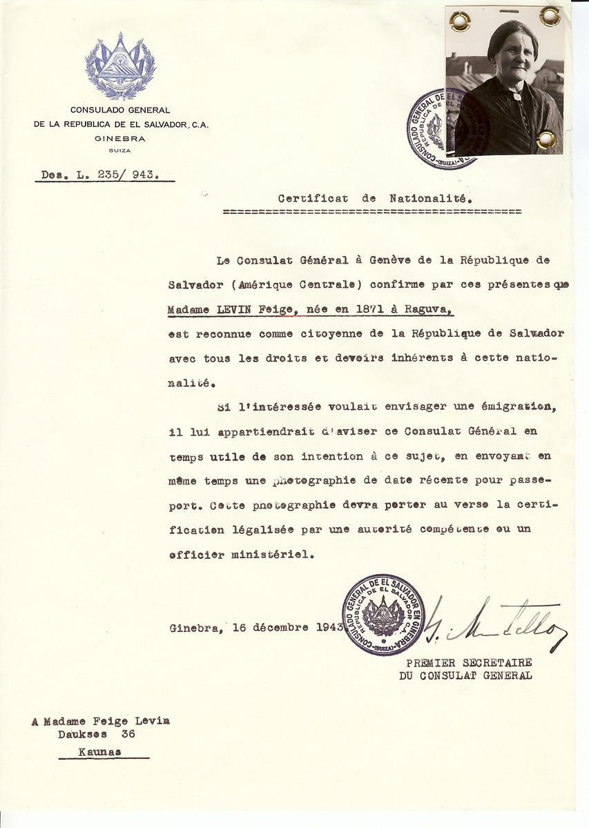 Unauthorized Salvadoran citizenship certificate issued to Feige Levin (b. 1871 in Raguva) by George Mandel-Mantello, First Secretary of the Salvadoran Consulate in Switzerland and sent to her in Kaunas.